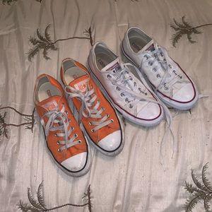 Orange converse and white converse